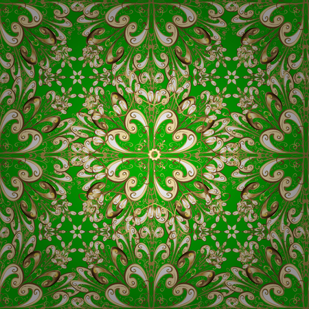 victorian wallpaper: Luxury vintage damask baroque seamless pattern. Floral vector green background wallpaper illustration with vintage gold decorative flowers, leaves and ornaments in Victorian style. Snowflake.