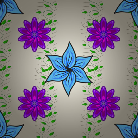 Vector seamless pattern with blue and lilac flowers. Radial gradient shape.