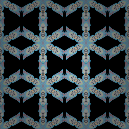 Seamless argyle pattern in pale cornflower blue, black white with violet stitch. Radial gradient shape.