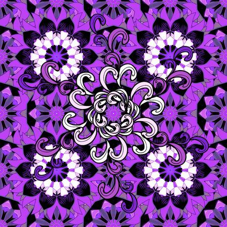 fussy: Vintage pattern on mandala round background with white flower. White, lilac mandalas background. Stock Photo