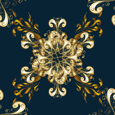 Elegant seamless pattern with floral and Mandala elements. Nice hand-drawn illustration. Dark blue background. Golden elements. Snowflake, Christmas, New Year. Raster. Stock Photo