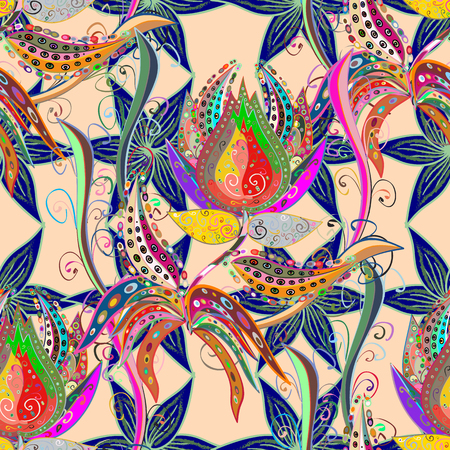 vector pattern with tropical flowers. Detailed colorful graphic botanical elements. Vettoriali