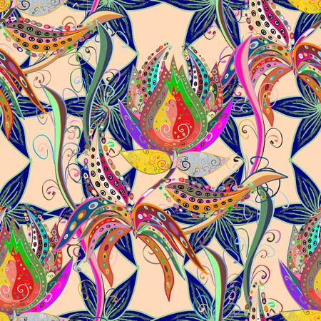 modèle vectoriel avec des fleurs tropicales. éléments graphiques colorés détaillés botaniques.