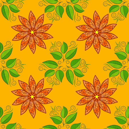 autumn flowers: Autumn flowers on orange and dim yellow background. Green leaves. Raster.