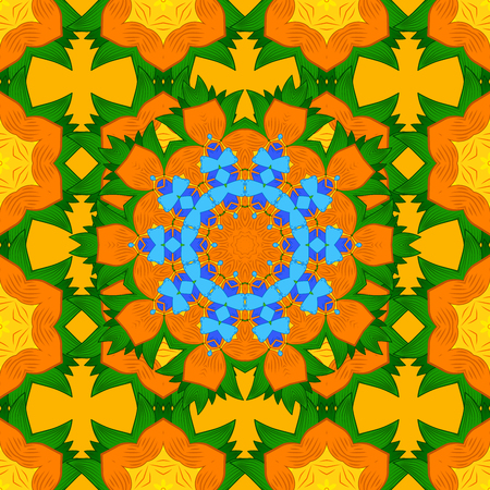 Seamless floral mandala pattern in pink, turquoise green, blue and pale orange on floral yellow background.