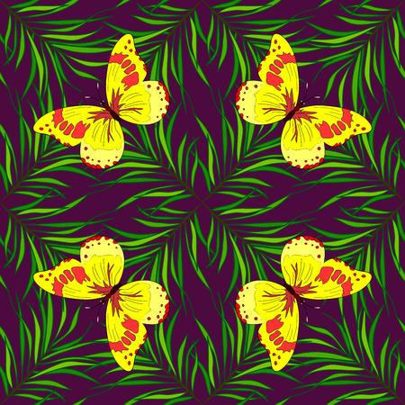mariposas amarillas: patrón de primavera transparente decorativo ornamental. textura elegante sin fin, con hojas sobre fondo azul. mariposas amarillas. Foto de archivo