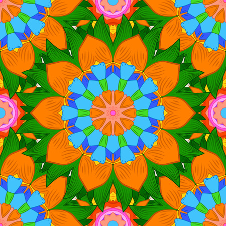 Seamless floral mandala pattern in pink, blue turquoise green and pale orange on floral background.