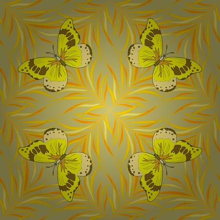 mariposas amarillas: de fondo sin fisuras. Círculo de los pétalos de mandalas de flores sin patrón en negro y amarillo tenue, vector. mariposas amarillas. forma degradado radial.