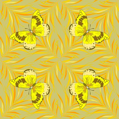 mariposas amarillas: de fondo sin fisuras. Círculo de los pétalos de mandalas de flores sin patrón en negro y amarillo tenue, trama. mariposas amarillas.
