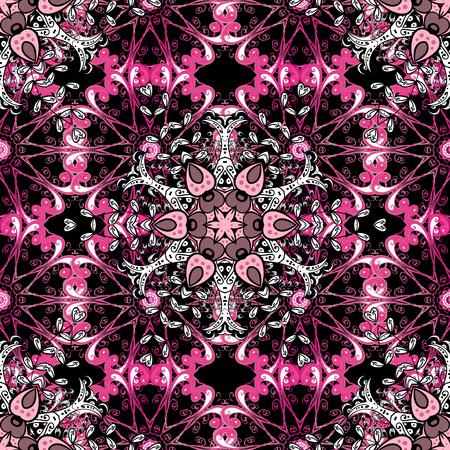 Ikat damask seamless pattern background tile on black background in beige, red and pink colors. Illustration