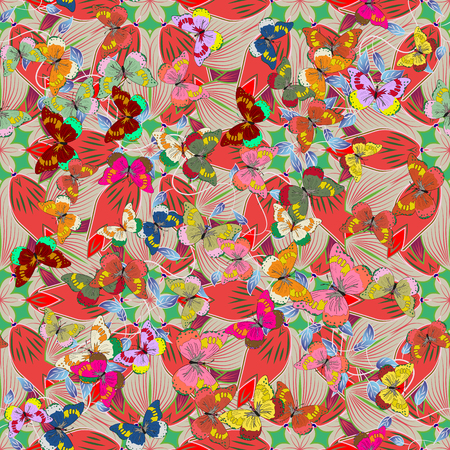 mixed wallpaper: Stylized leaves and petals, shapeless spots. Overlap, transparency, randomly mixed. Watercolor effect. Colorful pattern. Abstract seamless vector background.