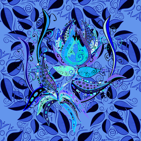 detailed image: Beautiful seamless flower pattern on a blue background. Vector illustration. Illustration