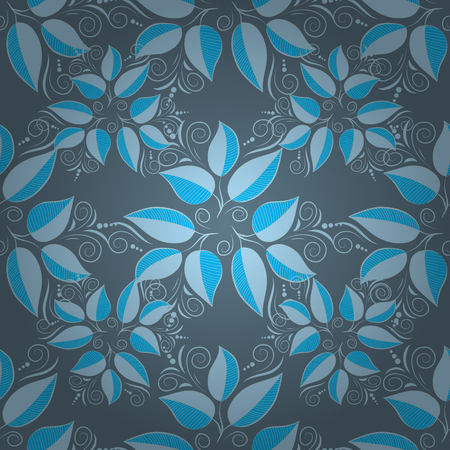 Blue seamless pattern with light leaves details. Vector.