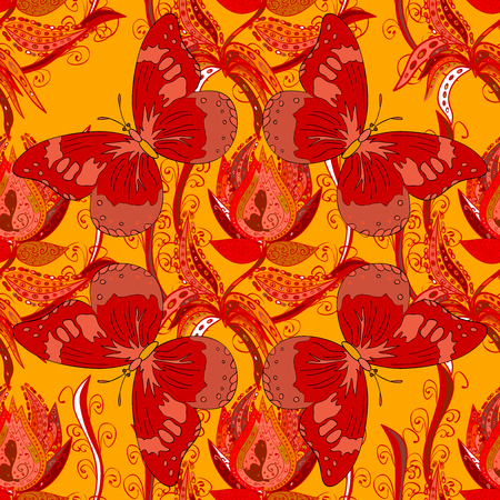 Raster summer background with red and pink butterflies, seamless pattern Stock Photo