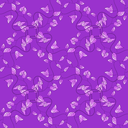 Violet lilac seamless pattern with light leaves details. Raster.