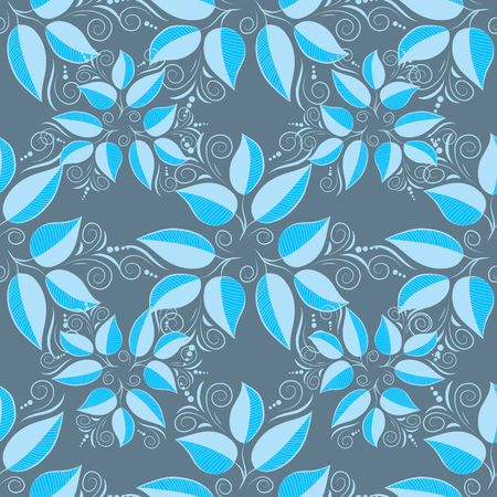 Blue seamless pattern with light leaves details. Raster. Stock Photo