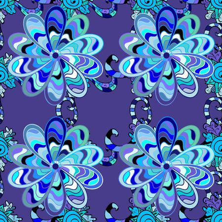 Blue seamless pattern with light doodles stripe leaves details. Raster.