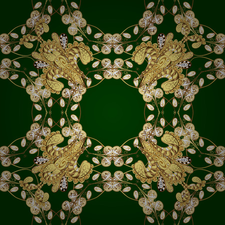 Seamless vintage pattern on green background with golden elements. Radial gradient shape. Illustration
