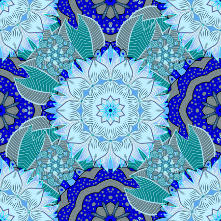 scrollwork: Abstract flowers Pattern on Blue Background. Raster Illustration