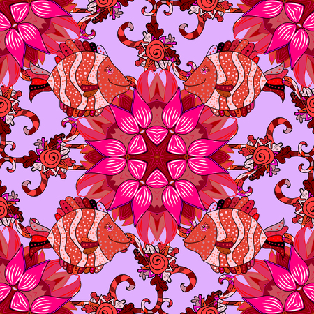 pink and brown background: Mandalas background. Vector illustration texture. Colorful elements.