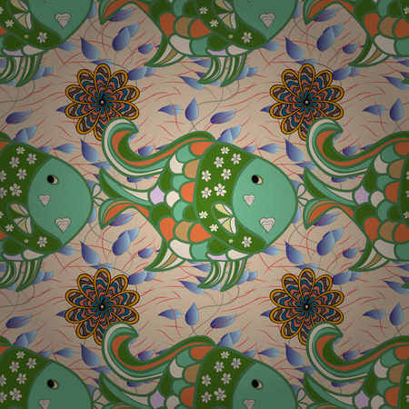 Nautical pattern inspired by tropical fish in dim tropical green color. Radial gradient shape.