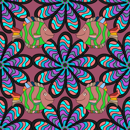 outline fish: Vector seamless patern background with floral branches. Intricate ornament made of twisted flowers.Lilac lacy outline. Fish. Green.