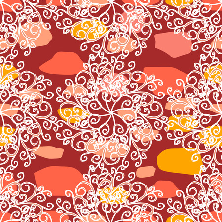 White snowflakes red background. vector illustration texture