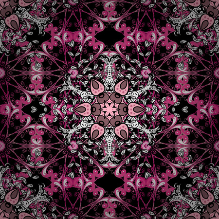 Ikat damask seamless pattern background tile on black background in beige, red and pink colors. Radial gradient shape.