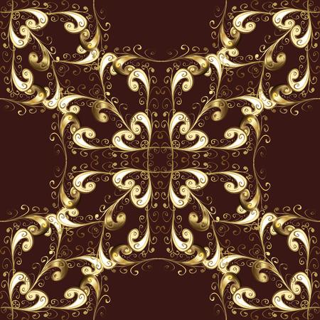 dark brown background: Seamless vintage pattern on dark brown background with golden elements. Christmas, snowflake, new year. vector illustration texture. Illustration
