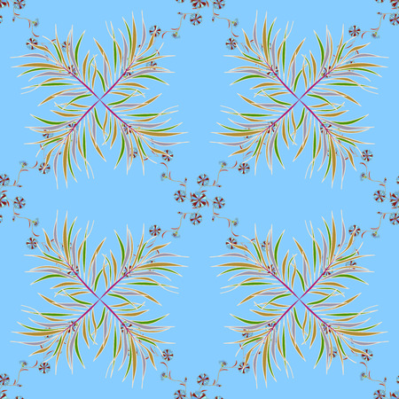 Seamless pattern made of floral ornaments. Blue, yellow. Grass. Branch. Flowers. vector illustration texture
