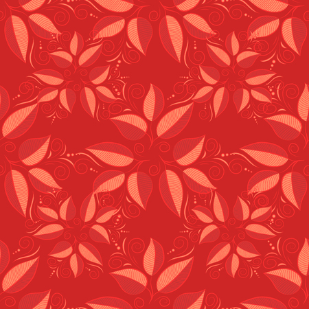stripped: Red leaves seamless background. vector illustration texture. Dim. Illustration