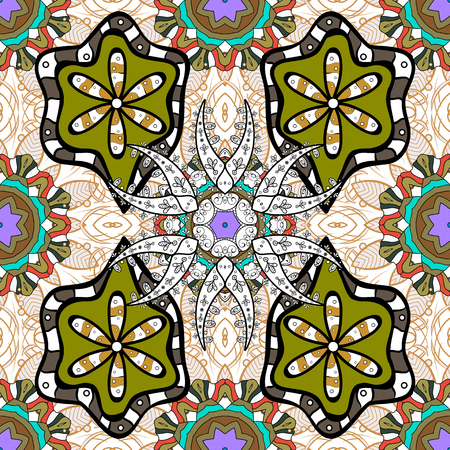 fall fashion: Vector pattern with big doodles painted. Colorful hand drawn print for summer fall fashion with random round shapes in 1950s style. Multiple bright colors green, black, white