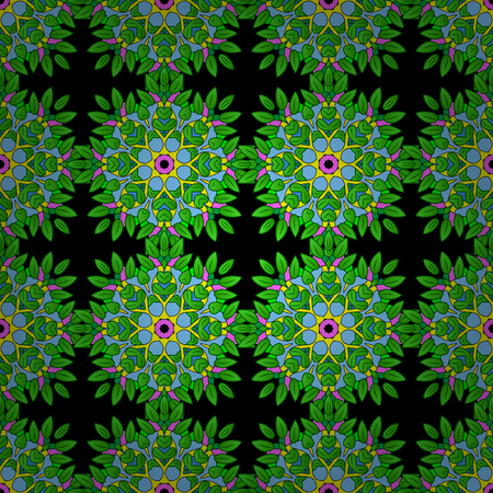 seamless texture with abstract flowers s green doodles mandala on black background.