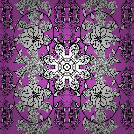 Seamless vintage pattern on lilac background with white floral elements with shadows.