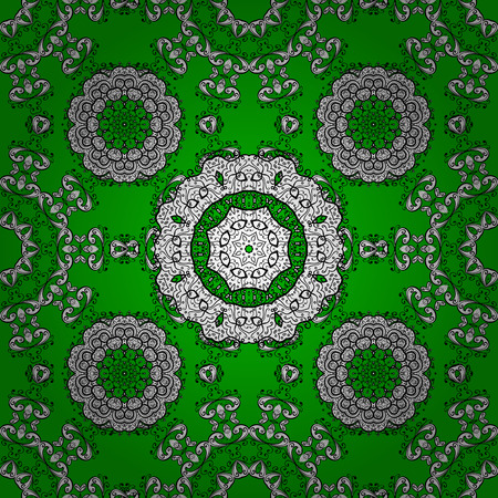 circle flower: Circle flower mandalas seamless pattern in black white and green, raster. Seamless background.