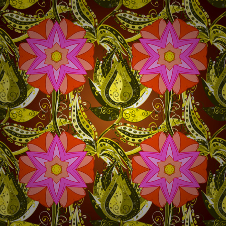 Pink petals flower seamless pattern raster illustration on flowers yellow background. Stock Photo