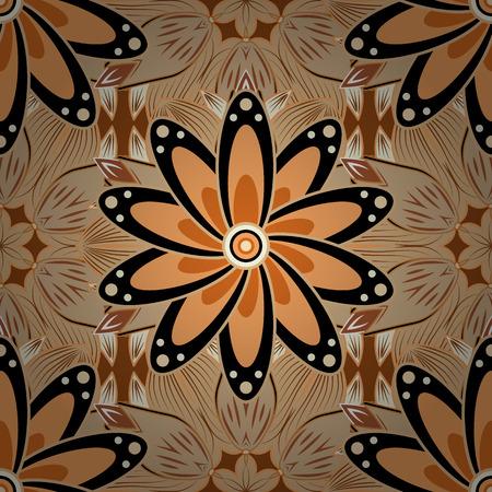 handkerchief: Flowers brown petals flowers background. Raster. Beige.