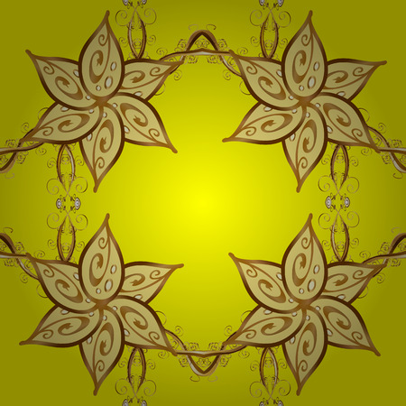 Pattern background. Seamless abstract pattern on yellow background with floral golden elements. Raster illustration.