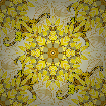 sateen: Light yellow flowers and doodles on a yellow background. Seamless floral pattern.