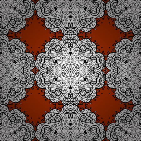 Raster. Seamless white floral ornament on a red background. Stock Photo