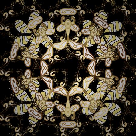 oldest: Seamless vintage pattern on black background with golden elements.
