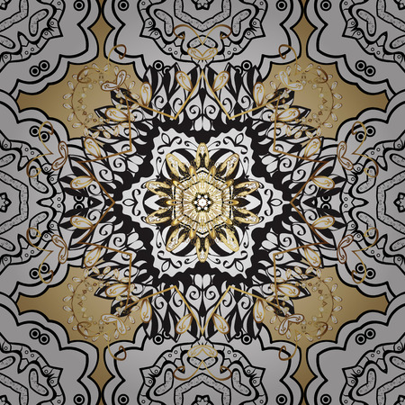 golde: Seamless vintage pattern on golden background with white floral elements. Stock Photo