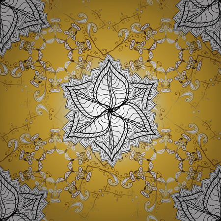 Vintage pattern on golden background with white floral elements.