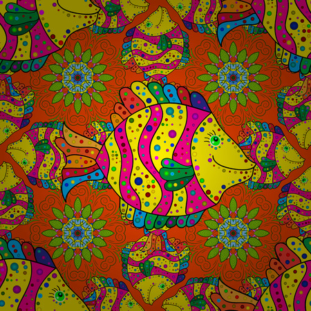 pom pom: Radial gradient shape. Seamless background with yellow and pink fishes with doodles element. Raster.