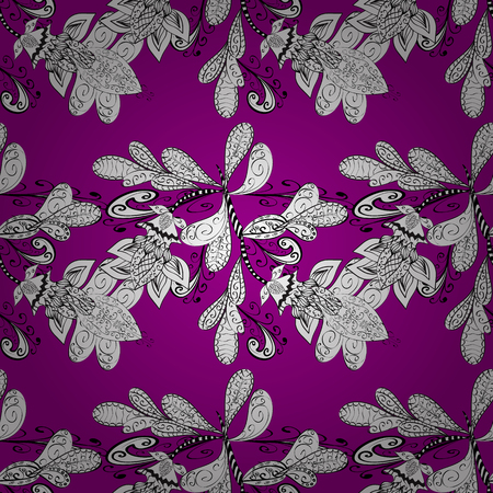 elegantly: Seamless pattern. Dark pink background. White doodles flowers. Stock Photo