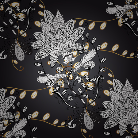 persia: Seamless vintage pattern on black background with golden elements.