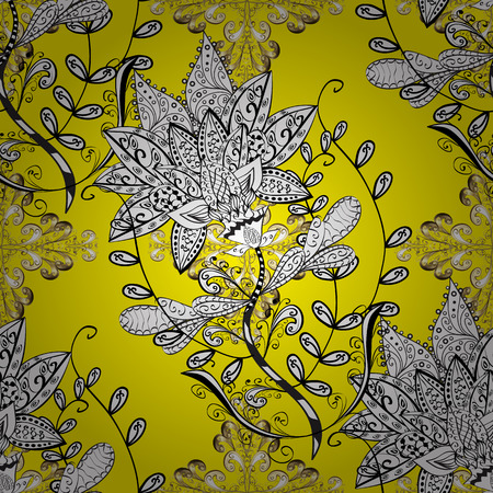Seamless vintage pattern on yellow background with golden elements. Raster.