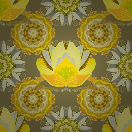lotus effect: Radial gradient shape. White. Lotus. raster. Yellow. Floral seamless pattern. Stock Photo