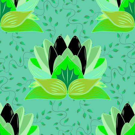 lily pad: Green Lotus Mandala Hallucination Seamless Pattern Vector Illustration