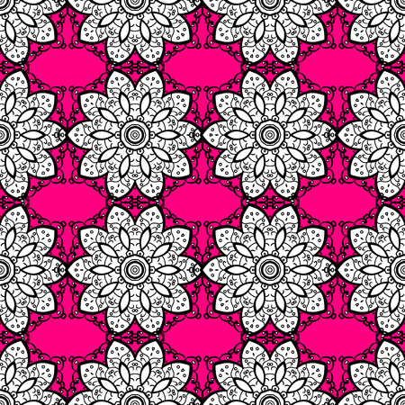 gray pattern: vector seamless pattern with white doodles on pink background.